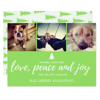 Pet Photo Love, Peace and Joy Christmas Holiday Card