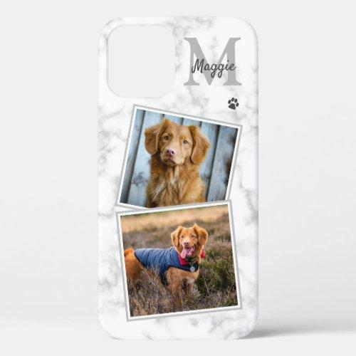 Pet Photo Marble Monogram Initial Name 2 Cat Dog Phone Case