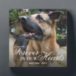"""Pet Photo Memorial Gift   Forever in our Hearts Plaque<br><div class=""""desc"""">Show someone you care with this gorgeous, thoughtful gift. We have all lost a loved one whether it was a mother, father, sister, brother, child, dog, cat, the list is endless. Personalize this plaque with a photo of your lost loved one, add their name, birth/death dates. All the text is...</div>"""