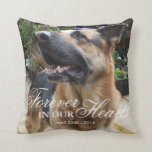 "Pet Photo Memorial Gift | Forever in our Hearts Throw Pillow<br><div class=""desc"">Show someone you care with this gorgeous, thoughtful gift. We have all lost a loved one whether it was a mother, father, sister, brother, child, dog, cat, the list is endless. Personalize this pillow with a photo of your lost loved one, you can choose the same for both the front...</div>"