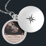 "Pet Photo Memorial Glitter Rose Gold Paw Prints Locket Necklace<br><div class=""desc"">Personalized, memorial photo locket necklace for her- Ready for you to create your own pet memorial photo gift for pet owners grieving the loss of a furry friend crossing the rainbow bridge or for new pet owners wanting to show off the newest member of the family. Underneath your pet's photo,...</div>"