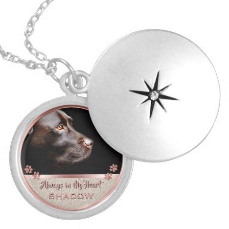 Pet Photo Memorial Glitter Rose Gold Paw Prints Locket Necklace