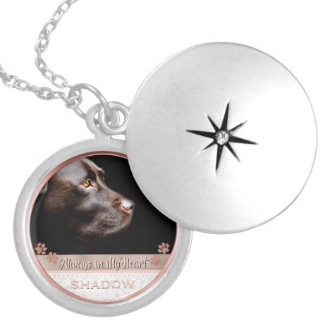 Pet Photo Memorial Keepsake Paw Prints Rose Gold Locket Necklace