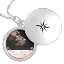Pet Photo Memorial Name Paw Prints Rose Gold Locket Necklace