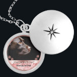 """Pet Photo Memorial Rose Gold Bokeh Paw Prints Locket Necklace<br><div class=""""desc"""">Personalized, memorial photo locket necklace for her- Ready for you to create your own pet memorial photo gift for pet owners grieving the loss of a furry friend crossing the rainbow bridge or for new pet owners wanting to show off the newest member of the family. Underneath your pet's photo,...</div>"""