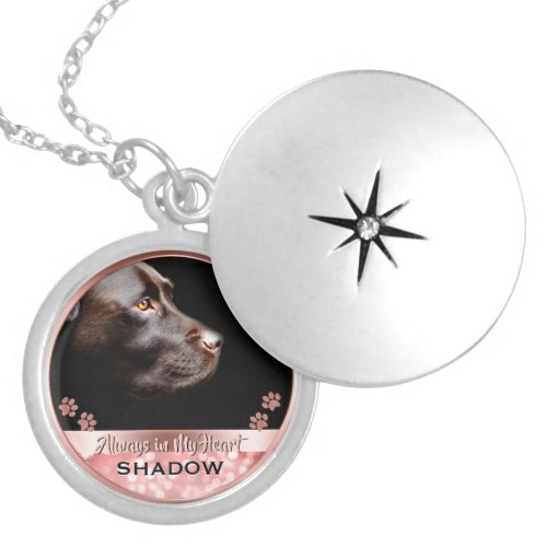 Pet Photo Memorial Rose Gold Bokeh Paw Prints Locket Necklace
