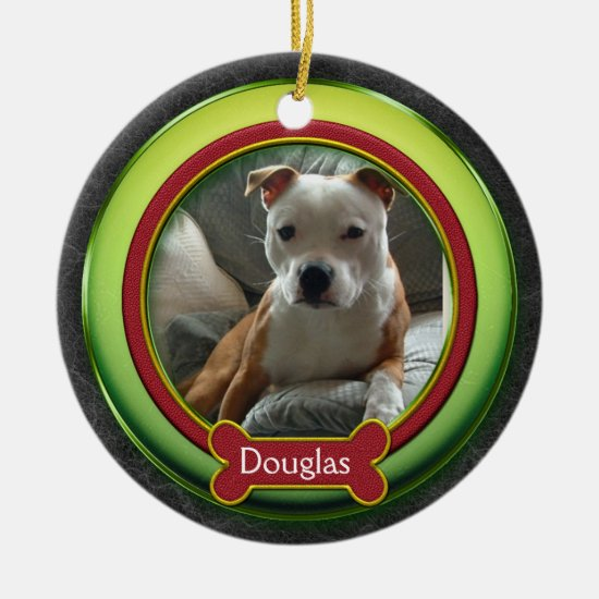 Pet Photo Ornament Red Green Christmas