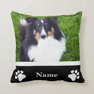 Pet Photo Template & Name With Dog Paw Silhouettes Throw Pillow