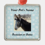 Pet Photo with Blue Snow Background Christmas Tree Ornaments