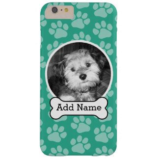 Pet Photo with Dog Bone and Paw Prints Green Barely There iPhone 6 Plus Case