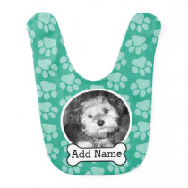 Pet Photo with Dog Bone and Paw Prints Green Bib