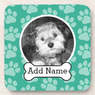 Pet Photo with Dog Bone and Paw Prints Green Coasters