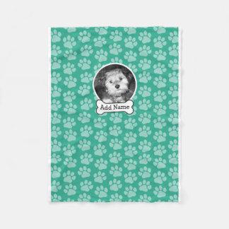 Pet Photo with Dog Bone and Paw Prints Green Fleece Blanket