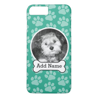 Pet Photo with Dog Bone and Paw Prints Green iPhone 7 Plus Case