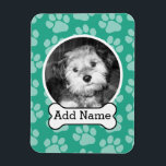 """Pet Photo with Dog Bone and Paw Prints Green Magnet<br><div class=""""desc"""">Highlight your CUTE puppy pic and keep this with you at all times!</div>"""