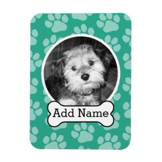 Pet Photo with Dog Bone and Paw Prints Green Magnet