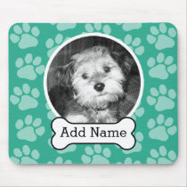 Pet Photo with Dog Bone and Paw Prints Green Mouse Pad