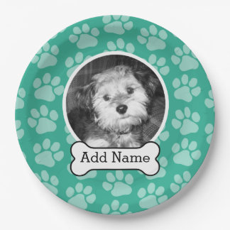 Pet Photo with Dog Bone and Paw Prints Green Paper Plate