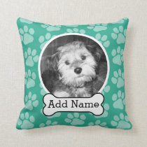 Pet Photo with Dog Bone and Paw Prints Green Throw Pillow
