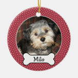 Pet Photo with Dog Bone - Double Sided Double-Sided Ceramic Round Christmas Ornament