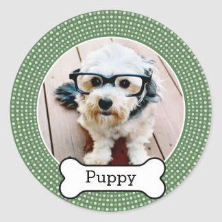 Pet Photo with Dog Bone - green polka dots Classic Round Sticker