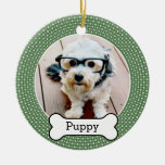 Pet Photo with Dog Bone - green polka dots Double-Sided Ceramic Round Christmas Ornament