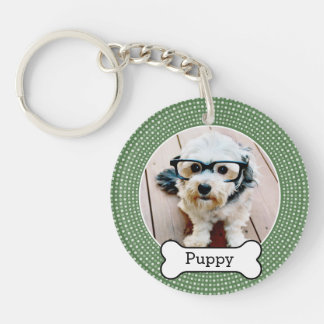 Pet Photo with Dog Bone - green polka dots Keychain