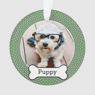 Pet Photo with Dog Bone - green polka dots Ornament