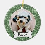 Pet Photo with Dog Bone - green polka dots Christmas Tree Ornament