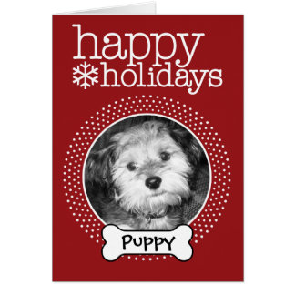 Pet Photo with Dog Bone - Happy Holiday Greeting Cards