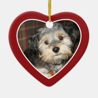 Pet Photo with Dog Bone - Heart Double Sided Ceramic Ornament