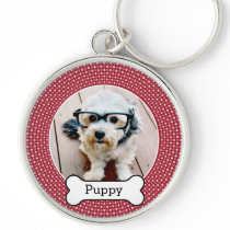 Pet Photo with Dog Bone - red polka dots Keychain