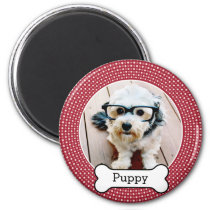 Pet Photo with Dog Bone - red polka dots Magnet