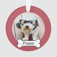 Pet Photo with Dog Bone - red polka dots Ornament