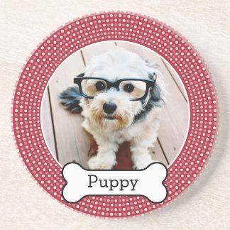 Pet Photo with Dog Bone - red polka dots Sandstone Coaster