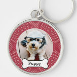 Pet Photo with Dog Bone - red polka dots Silver-Colored Round Keychain
