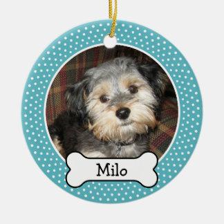 Pet Photo with Dog Bone - Single Sided Ceramic Ornament