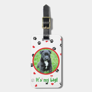 pet photo with paws and hearts pattern luggage tag