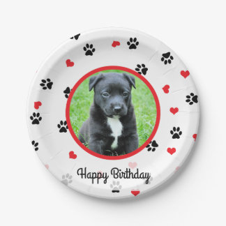 pet photo with paws and hearts pattern paper plate