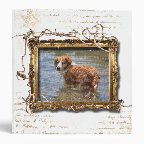 Pet picture frame photo  vintage flourish 3 ring binder