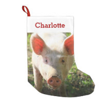 Pet Pig Lover Photo & Name Personalized Small Christmas Stocking