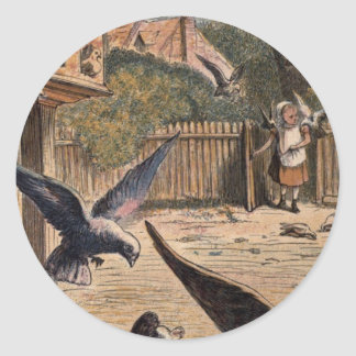 Pet Pigeons Greeting Young Girl on the Farm Classic Round Sticker