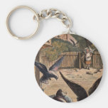 Pet Pigeons Greeting Young Girl on the Farm Key Chains