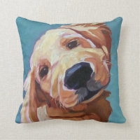 Pet Portrait Golden Retriever Pillow