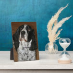 """Pet Portrait Plaque<br><div class=""""desc"""">Hardboard plaque with hinge that features a 5 x 7 inch, glossy photo image of your favorite pet photo. Customize and replace the adorable English Springer Spaniel dog photo with your own favorite pet photo. Available as an 8 x 10 inch plaque in the store. To see other products we...</div>"""