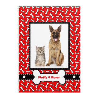 Pet Portrait Red Dog Bone Template Frame Acrylic Wall Art