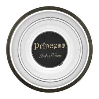 Pet Princess Black and Gold Personalized Bowl