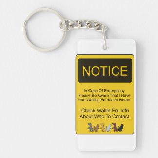 Pet Protection Single-Sided Rectangular Acrylic Keychain