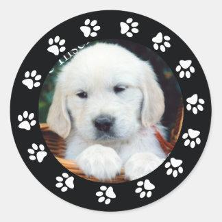 Pet Puppy Dog Paw Print Border Frame Sticker Label
