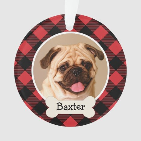 Pet Puppy Dog Red Buffalo Plaid Photo Monogram Ornament